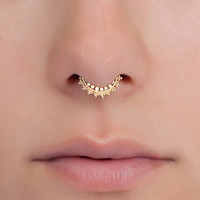 Tiny septum ring for pierced nose. 20g septum ring. Indian septum ring. brass septum jewelry. gold septum ring. tribal septum ring.