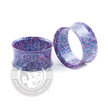 Metallic Purple Splatter Double Flared Steel Tunnels
