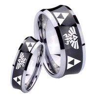 Tungsten Ring Tungsten Triforce & Legend of Zelda Black Concave Two Tone Engraved Ring ( 5, 8, 10 MM ) Full and Half Size 4 to 15
