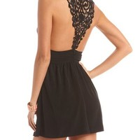 Crochet Inset Woven Dress: Charlotte Russe