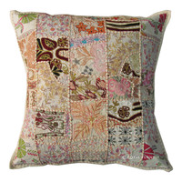 Big Size 24 Inch White Indian Multi Patchwork Throw Pillow on RoyalFurnish.com