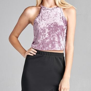 Ladies fashion round halter neck ice velvet crop top