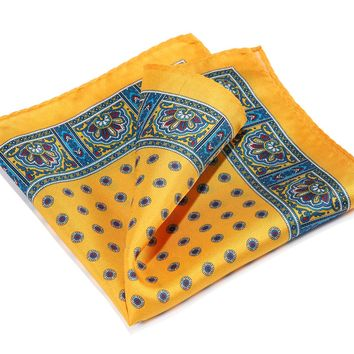 Yellow Blue 100% Natural Silk Pocket Square