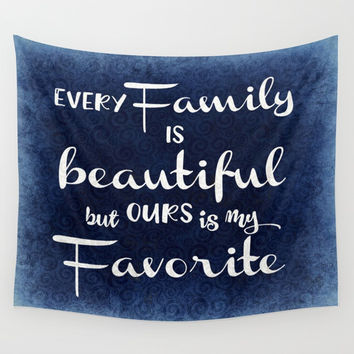 Vintage Family Quote Typography Wall Tapestry by Quote Life Shop