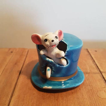 Vintage Mouse In A Hat Figurine  Kitsch Mouse , Toothpick Holder? Top Hat Mouse