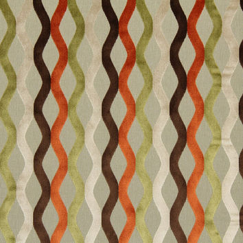 Abstract Cut Velvet Upholstery Fabric - Modern Lime Green Velvet for Furniture Upholstery - Orange and Chocolate Brown Velvet Pillow Fabrics