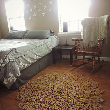 Topaz Natural Tan Nude Crochet doily rug, round shabby Lace carpet, Boho Chic mat, country chic cottage french country area rug burlap color