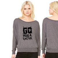 Go Hug A Cactus women's long sleeve tee