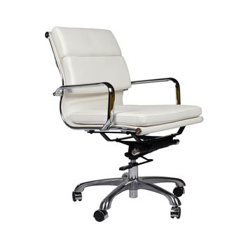 Eames Style Executive Leather Office Chair, White