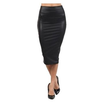 CUPUP9G High Quality High-waist Faux Leather Pencil Skirt