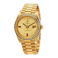 Rolex Day-Date 40 Automatic Gold Diamond Pave Dial Mens 18kt Yellow Gold President Watch 228348rbr-0030