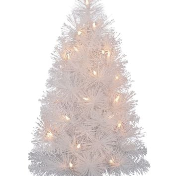 "Lighted Mini Fake Christmas Tree in White - 24"" Tall"