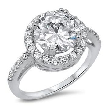 A Perfect 4CT Russian Lab Diamond Halo Engagement Ring