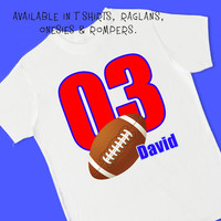 Football Jersey 3rd Birthday . Personalized T Shirt, Raglan, Onesuit, or Romper. 1st, 2nd, 3rd, 4th, 5th, 6th Birthday. Sport Team (1801)