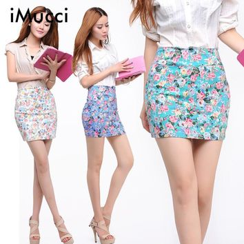 Flower Printed Women Short Skirt