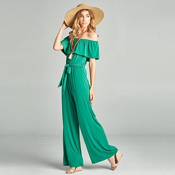 Ruffle Off Shoulder Jumpsuit
