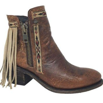 ICIKAB3 Corral Brown Fringes J Toe Ankle Boots