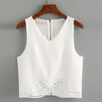 Lace Camisole Bra Top Women Chiffon Summer Crop Tops Lace Sexy V Neck White Lace Lingerie Croppeds Baratos Top Acolchoada#121