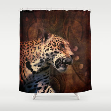rustic wild leopard leather texture pattern Shower Curtain by Chicelegantboutique