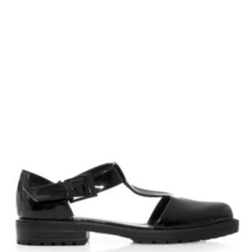 Black Patent Chunky Cut Out T-Bar Shoes