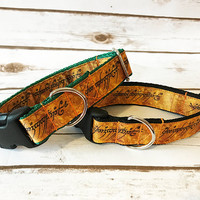 One Ring Inscription Ribbon Puppy Dog Collar inspired by Lord of the Rings One Ring