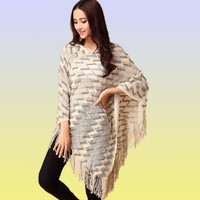 Ladies Knitted Tassel Poncho- 5 Colors Available