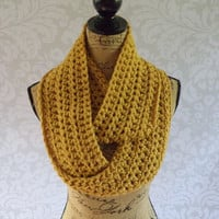 Ready To Ship Infinity Scarf Crochet Knit Mustard Yellow Women's Accessories Eternity Fall Winter