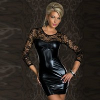 On Sale Hot Deal Cute Lace Patchwork Hollow Out Sexy Dress Club Exotic Lingerie [6596479043]