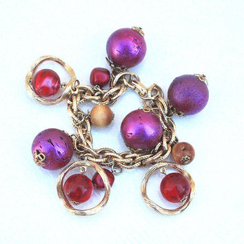 Chunky Pink Purple Charm Bracelet ~ Vintage Large Ball Cork & Lucite Marble Swirl Beads