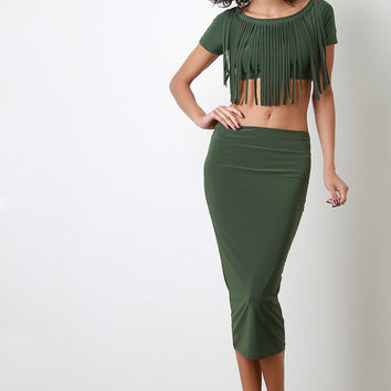 Stretchy Midi Pencil Skirt