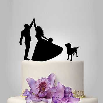 Dog Silhouette Cake Topper, pride and groom silhouette wedding cake topper, acrylic cake toppers, funny wedding cake toppers, unique topper