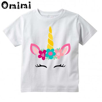 Baby Boys/Girls Unicorn Face Printed Funny T Shirt Children Casual Cute Tops Kids Great T-Shirt,HKP3022