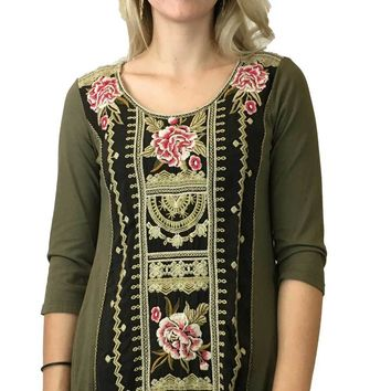 Johnny Was Vintage Military Green Leith Woven Panel Tunic