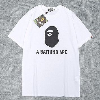 """A Bathing Ape in Lukewarm Water Tide brand """"A Bathing Ape"""" letter printed round neck half-sleeved shirt white"""