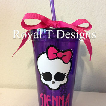 16oz Monster High Personalized Tumbler with matching Monster High Font.