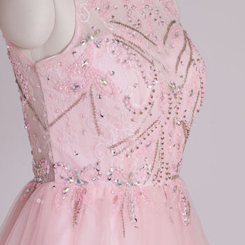 Sweetheart Pink Straps Key Hole Back Beading Tulle Short Party Dress,Bridesmaid dresses,cocktail dresses,evening dresses,short prom dresses