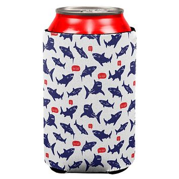 Talking Sharks Got Fish Repeat Pattern All Over Can Cooler