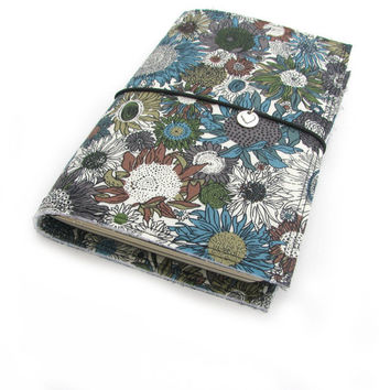 Fabric Fauxdori Travelers Notebook Travel Midori Planner Cover Journal cover Moleskine book style cover with charm- Flower Browns and Blues
