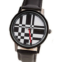Black and White Artistic, Architectural Mens Watch with Black Leather Band