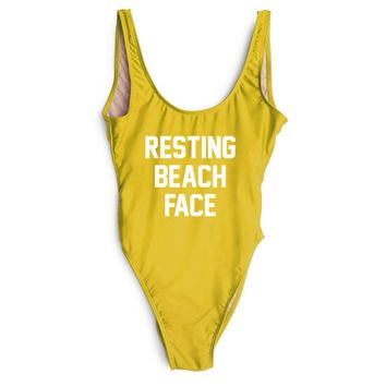 RESTING BEACH FACE - Women's Sexy Funny One-Piece Swimsuit - High-Cut Legs