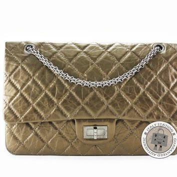 Auth New Chanel Classic 2.55 LARGE Bronze Calfskin Bag Silver Hardware A37590