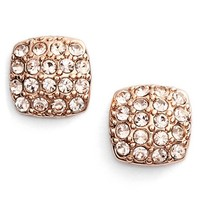 Women's Givenchy 'Legacy' Pave Stud Earrings - Rose Gold/ Silk