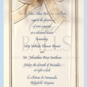 Ecru Gold Foil Bordered with Ribbon Blank Invitations