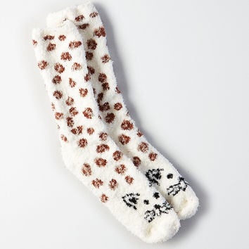 AEO Fuzzy Animal Crew Socks , Cream