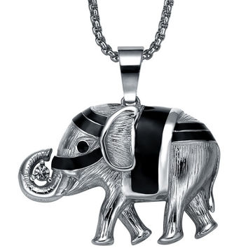 Stainless Steel Elephant W. Cubic Zirconia Pendant Necklace