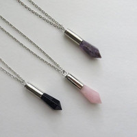 Bullet Crystal Layering Necklace in Silver Casing