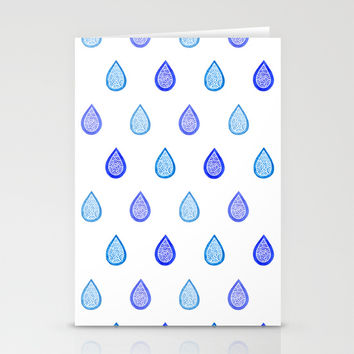 Blue raindrops Stationery Cards by Savousepate