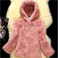 Winter fashion Rabbit fur thicken coat hoodie cost 7/10 sleeve outwear clothing
