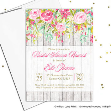 Whimsical Bridal Shower Invitation, Spring Summer Bridal Shower invite, floral wedding Shower invitation, pink wood printable - WLP00678
