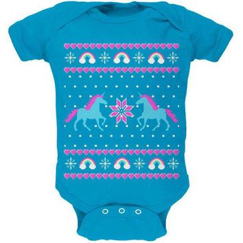 DCCKIS3 Unicorn Rainbow Ugly Christmas Sweater Soft Baby One Piece